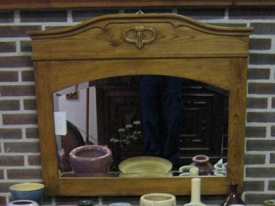 Oude grenen spiegel met facetrand (1900)