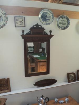 Mahonie spiegel met mooie lijst (1900)