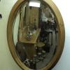 Ovale grenen spiegel met facet